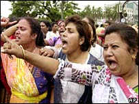 Women protesters of the Awami League in Dhaka