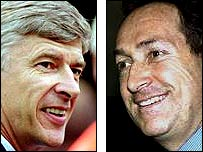Arsenal manager Arsene Wenger (left) and Liverpool boss Gerard Houllier