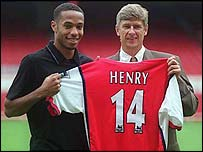 Thierry Henry signing for Arsenal with Arsene Wenger