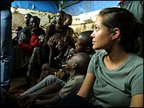 Angelina Jolie at the Tanzanian refugee camp