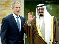 US President George W Bush (left) and Saudi Crown Prince Abdullah in Texas, 2002