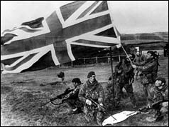 British soldiers fly the flag on the Falkland Islands