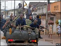 Tanks patrolling Monrovia