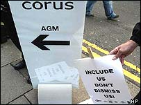 Demonstrations outside Corus' AGM