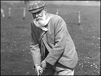 Tom Morris Snr in action in 1880