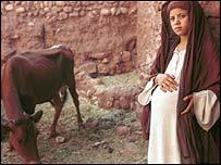 An actress as the Virgin Mary