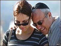 Relatives at funeral of one of Wednesday's Jewish bomb victims