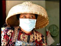 Hong Kong woman in traditional hat wearing mask to protect against SARS