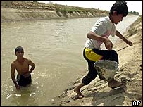 An Iraqi boy carries a bucket filled with canal water in Nasiriya