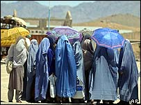 Women in Kabul shelter from sun while waiting for a bus