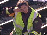 Woman firefighter at Paddington rail crash