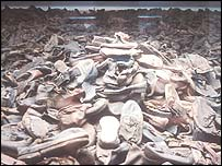 Pile of shoes at Auschwitz concentration camp in Germany