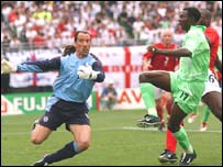 Striker Julius Aghahowa in action against England at the World Cup