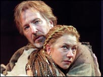 Helen Mirren with Alan Rickman in Cleopatra