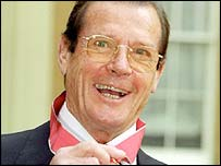 Roger Moore at Buckingham Palace in 1999