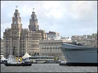HMS Invincible and Liverpool's waterfront