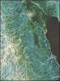 The West Bank, with the River Jordan top right