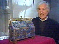 Dean of Canterbury Cathedral Robert Willis with a casket which held relics of Thomas Becket