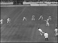 Fielders in a 1954 game