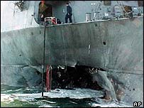 USS Cole after being hit by bombers in Yemen in 2000