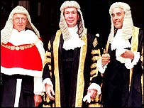 Former Lord Chancellor Lord Irvine, centre, Lord Woolf, left, and Lord Phillips