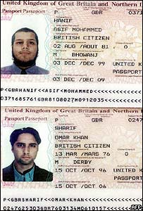Passports of Asif Mohammed Hanif  (above) and Omar Khan Sharif