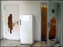 Broken doors of the students room at the Hemmat dormitory of the Allameh Tabatabai University in Tehran