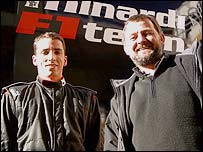 Minardi driver Justin Wilson and team boss Paul Stoddart
