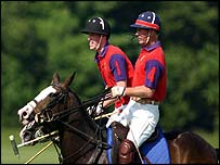 William and his father Prince Charles (foreground), playing polo on Saturday