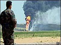Oil field burns near Kirkuk
