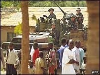 French soldiers patrol in Bunia