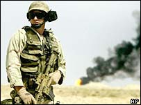 Soldier in Iraqi oilfields