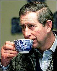 Prince Charles drinks a cuppa