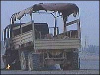 Burnt out US Army lorry