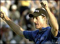 Jim Furyk celebrates his US Open victory