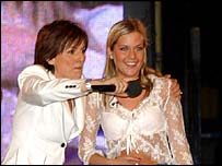 Host Davina McCall (l) with last year's winner Kate Lawler