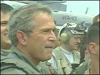 George Bush aboard the USS Abraham Lincoln