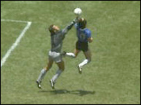 The infamous moment when Diego Maradona punches the ball past Peter Shilton in the 1986 World Cup