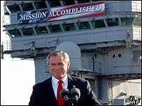 George W Bush on the USS Abraham Lincoln