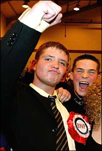 Luke Smith celebrates winning a seat for the BNP in Burnley