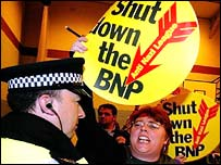 Anti-Nazi League protestors at the election count in Burnley