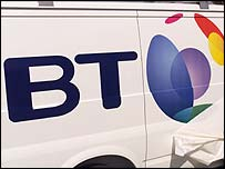 BT logo on side of a van