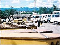 Coffins on display