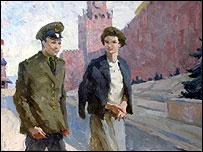 Терешкова и Гагарин на Красной площади - открытка 1970 года
