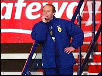 Scotland boss Berti Vogts during the defeat by Austria