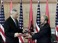 Colin Powell and Albanian Prime Minister Fatos Nano