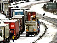 Traffic jam in snow