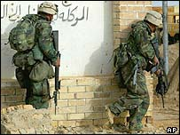 US Marines at an Iraqi base near Nasariyah, 30 March 2003