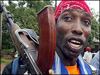 George Sla, a militia man fighting for Liberia President Charles Taylor