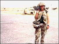 Karen Joynson in Iraq, before the tornado struck